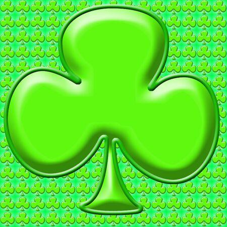 saint paddys day: Green shamrock clip art background or frame Stock Photo