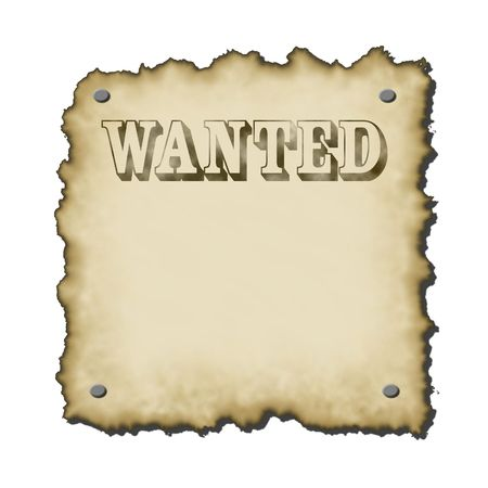 burnt edges: old western looking wanted poster text worn looking burnt edges small drop shadow rescales nicely