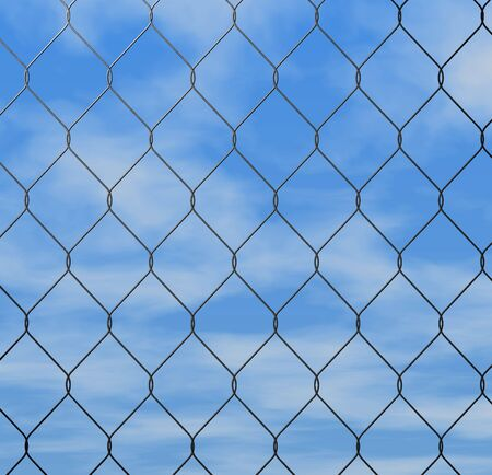 chained link: close up of chain link fence nice detail good background blue sky with clouds