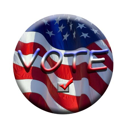 stars and stripes flying in the wind on deep blue sky nice background for a patriotic display looks like a badge or button to remind you to vote Stock Photo - 926483