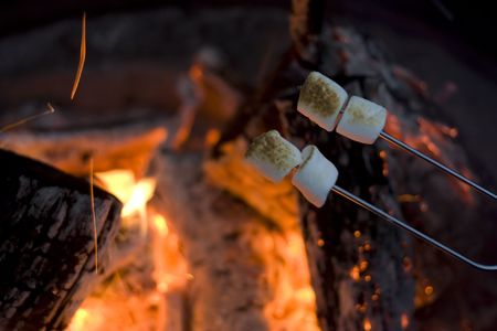 외부 야영에 marshmellow 구이 스톡 콘텐츠