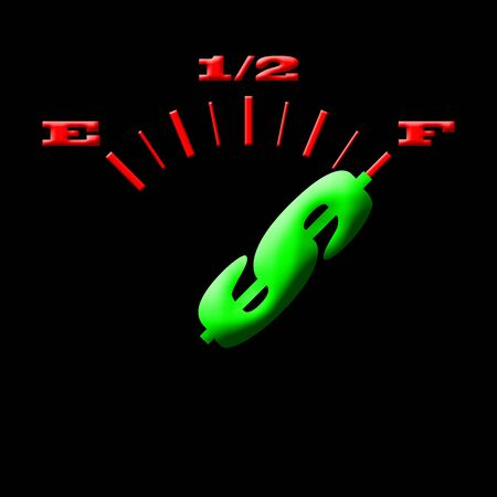 gas gauge: Gas gauge concept bright colors on a black background Stock Photo