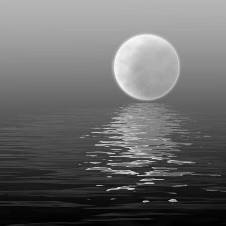 ondas lisas de reflejo del excedente de la luna grande en el agua en fondo agradable negro de la tela del espacio exterior Foto de archivo - 1142252