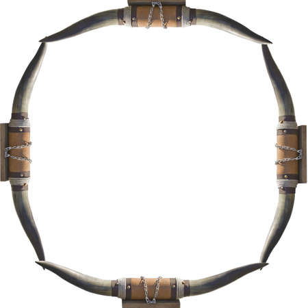 frame of bull cow horns on a white background frame your cowboy photo