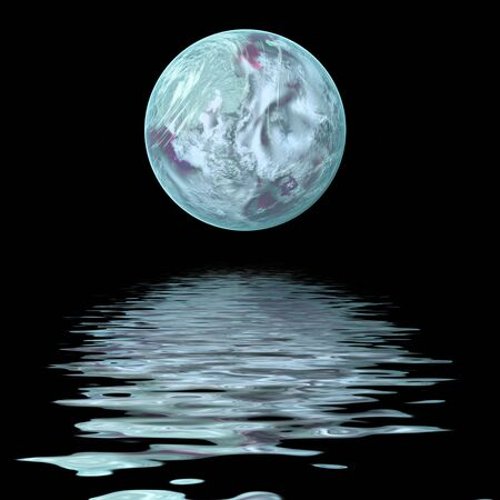 reflection: large moon reflecting over smooth waves on water Stock Photo