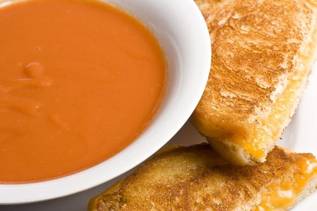hot soup: grilled cheese sandwich on a white plate shot with a macro lens