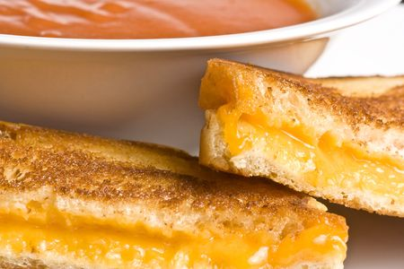 grilled cheese sandwich on a white plate shot with a macro lens photo