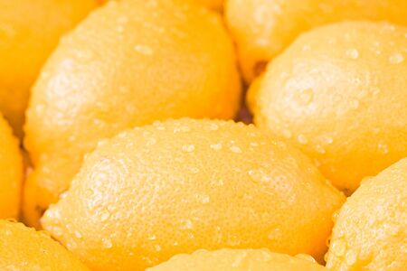a bunch of lemons shot close up shallow depth of field Stock Photo
