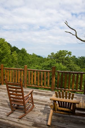 what a wonderful view of the smoky mountains from a cabin  photo