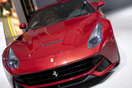 DETROIT - JANUARY 27 :The new 2013 Ferrari F12 Berlinetta at The North American International Auto Show January 27, 2013 in Detroit, Michigan.  Editorial