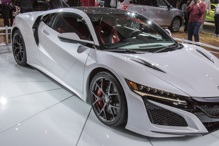 acura: DETROIT - JANUARY 17 :The 2017 Acura NSX The North American International Auto Show January 17, 2016 in Detroit, Michigan. Editorial