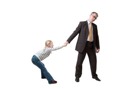 daughter pulls father for hand Stock Photo - 11641542