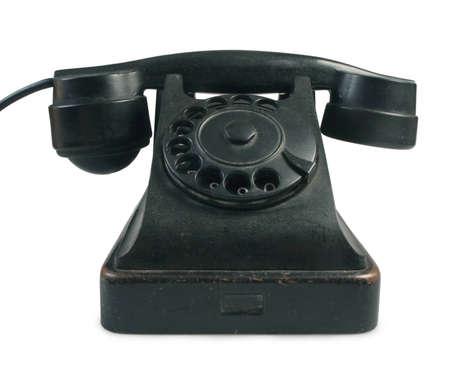 Old telephone set isolated on white