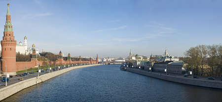 Panorama of Moscow river and Kremlin photo