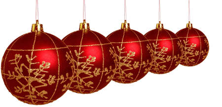 red christmas balls on white background Stock Photo