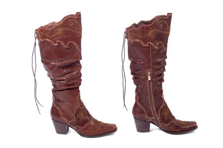two women brown boots isolated on white
