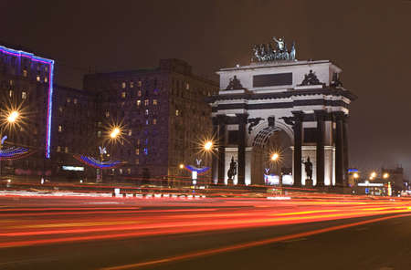 Triumphal arch in Moscow, night