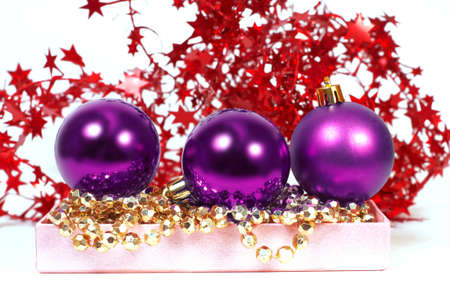 three chrispmas purple balls Stock Photo - 11641561
