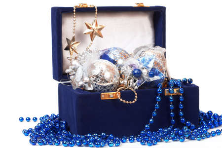 christmas decoration in blue box Stock Photo - 11641564