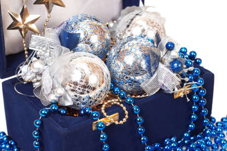 christmas decoration in blue box close-up Stock Photo - 11641565