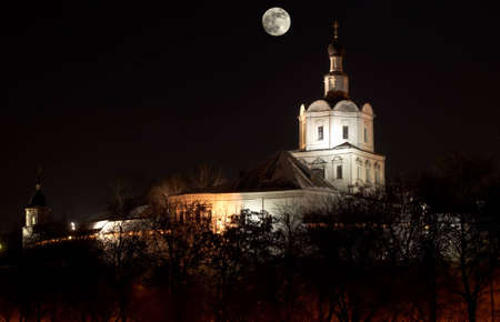 Spaso-Andronikov a mans monastery. Michael Arhangelas church at night with moon Editorial