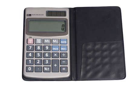 The pocket calculator on a white background