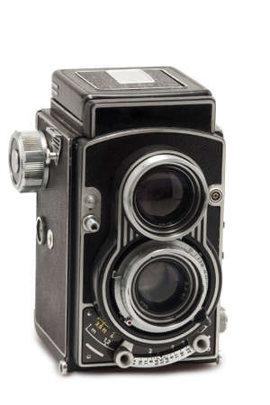 tlr photo camera on white background