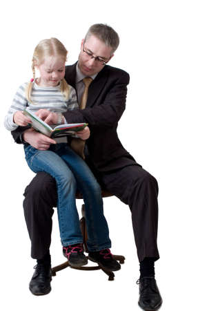 father and daughter read book photo