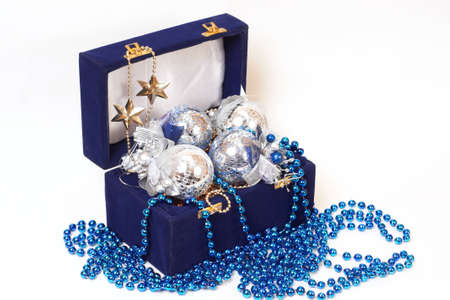 christmas decoration in blue box Stock Photo - 12587389
