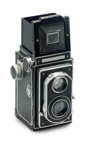 tlr photo camera on white background photo