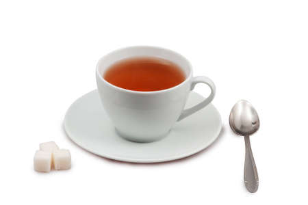 cup of tea with spoon and sugar isolated on white with clipping path Stock Photo