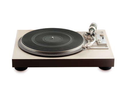 old turntable  on white backgroundl photo