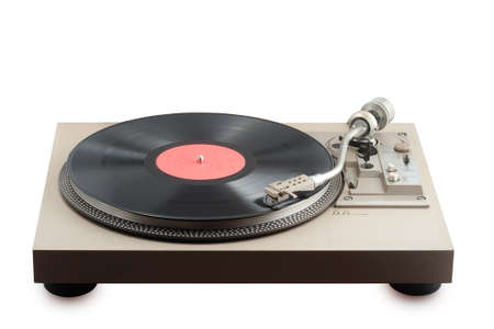 old turntable with vinyl record having blank label Stock Photo - 14881390