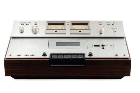 old stereo cassette deck on white background photo