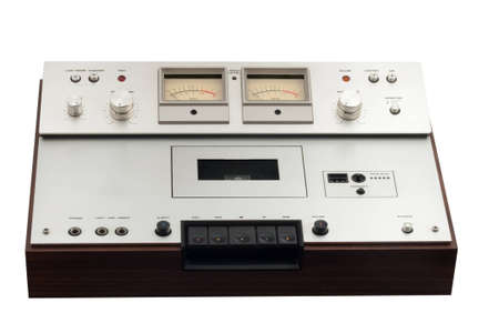 old stereo cassette deck on white background Stock Photo - 14881354