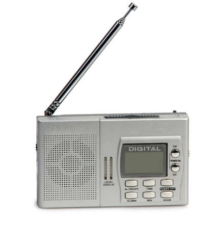 Portable transistor radio receiver on white background Stock Photo - 15015238