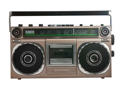 recorder: retro ghetto blaster isolated with clipping path