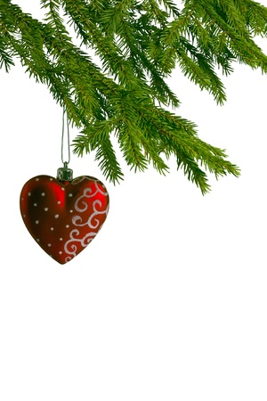red christmas heart, which hang on fir tree  Stock Photo