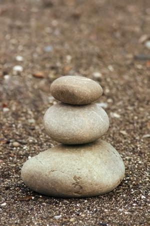 pyramid of three stones Stock Photo - 18047364