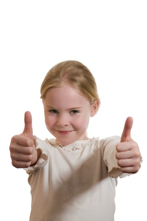 portrait of  girl giving thumbs up isolated on white Stock Photo - 18188482