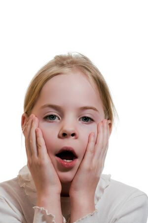 Little girl expressing amazement isolated on white background Stock Photo - 18188220