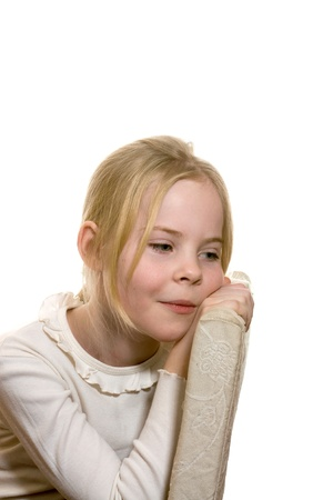 little bored girl, who sits on  chair Stock Photo - 18188291