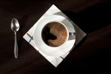 Cup of coffee, top view Stock Photo