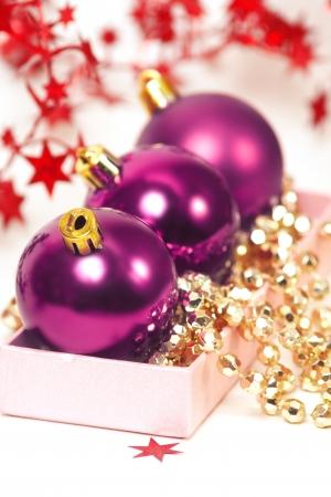 three chrispmas purple balls Stock Photo - 18175606
