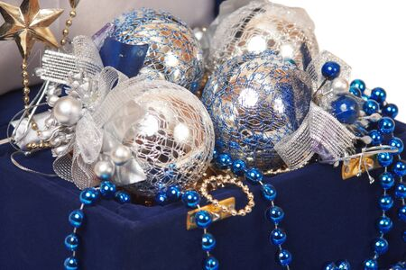 christmas decoration in blue box close-up Stock Photo - 18175635