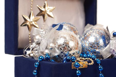 christmas decoration in blue box close-up Stock Photo - 18175613