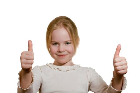 portrait of  girl giving thumbs up isolated on white Stock Photo - 18231510