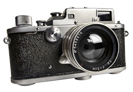 finder: old  range finder camera isolated with clipping path