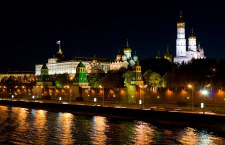 View of Moscow Kremlin from  Moskva River embankment, night city Stock Photo - 18255862