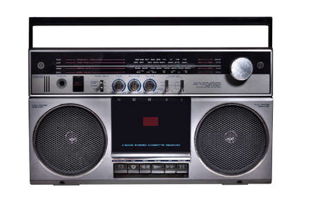retro ghetto blaster isolated with clipping path photo